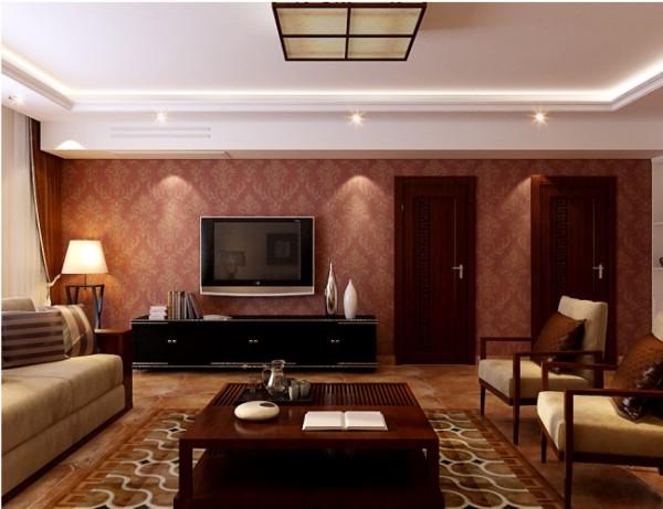 客厅以棕色为主调,辅以印花壁纸、仿古地砖、从吊顶到四周,从家具到饰品,都激荡着视觉的热情。