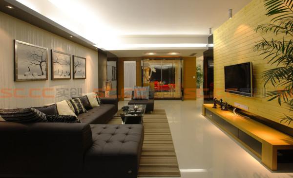 客厅的电视背景墙,融合了生态木、黑色烤漆玻璃、以及木线条,丰富的材质被完整的协调在这一面背景墙上..