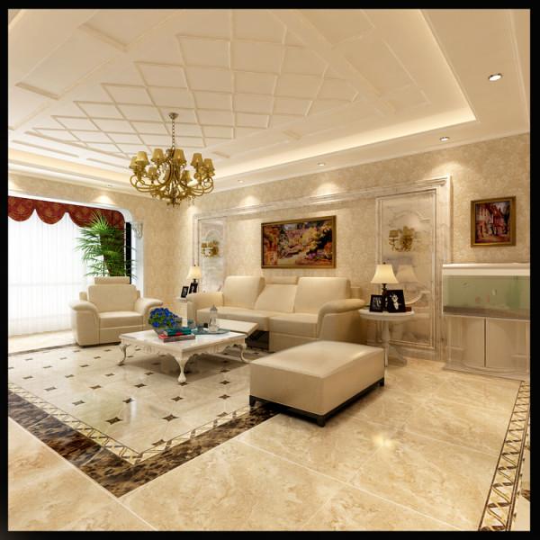 富力又一城三居室户型沙发背景效果图展示