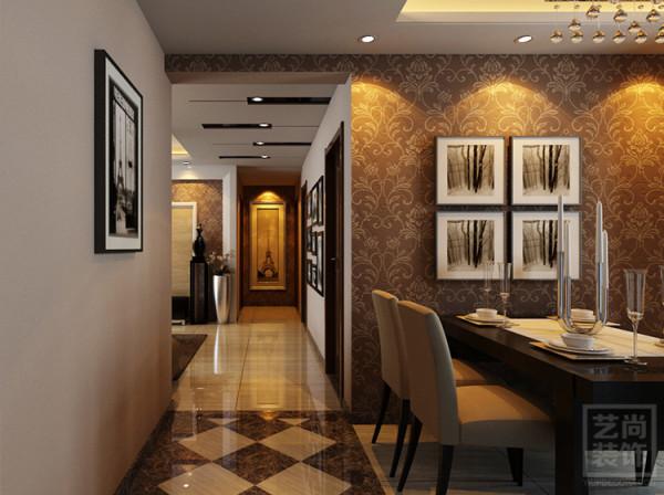 锦艺国际华都3期123平方入户餐厅装修效果图:入户走廊相对较狭长,设计采用顶面吊顶和地面造型拼花处理手法,从地面和顶面进行空间划分。