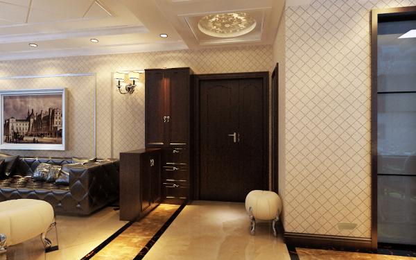 该户型的建筑结构是标准的南北房,格局已有明确的划分,大体上不需变动,局部细节上注意的是,从打开进户门,左边是厨房餐厅,右边是开间近5米的宽敞式客厅,但正对着的是一个狭长的走廊,走廊的尽头是卧室门。
