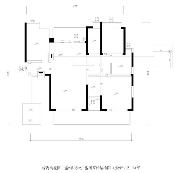 绿海湾花园 D座2单元02户型图原始结构图 4房2厅2卫 151平