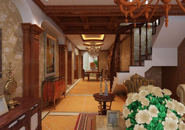 墙面用壁纸,以烘托豪华效果。地面材料以石材或地板为佳。