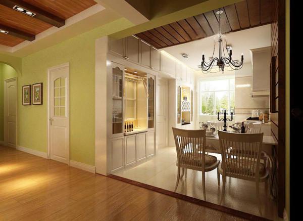 设计理念:厨房简单 干净,白色橱柜配合仿古砖不失大气。在厨房另一面墙用其做整体酒柜与储物空间。使得空间的更大利用话,实用,美观,合理。