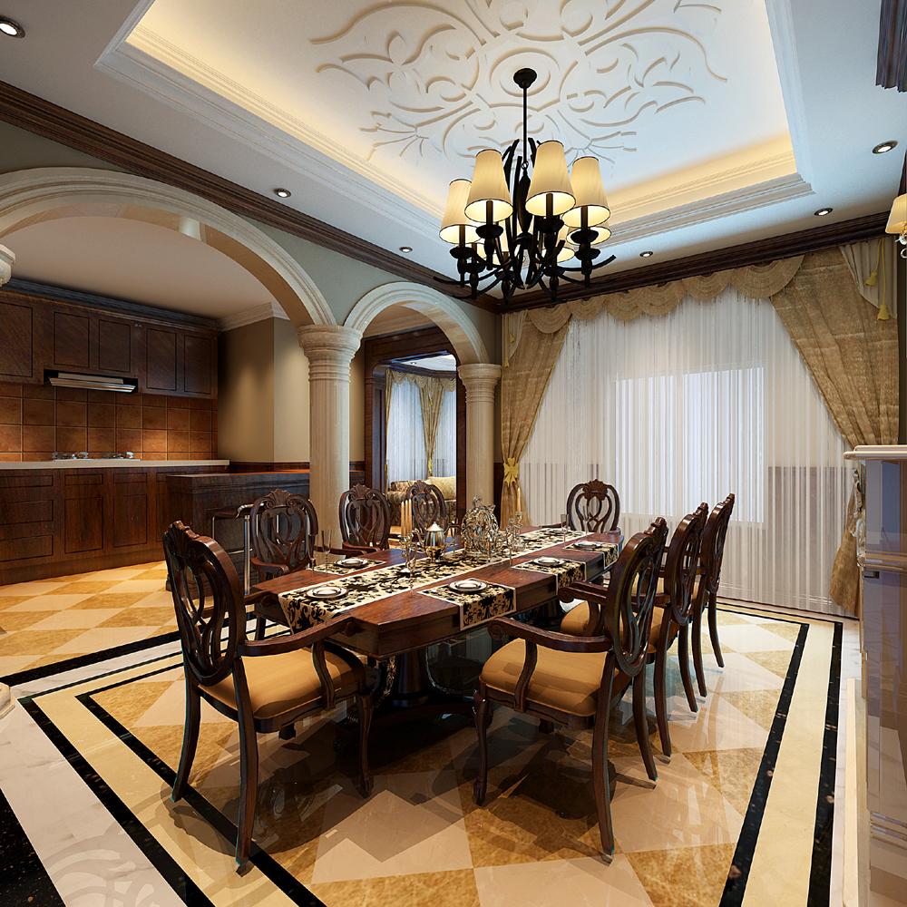 欧式 别墅 客厅 餐厅 混搭图片来自大连易鸿装修工程有限公司在欧式的图片