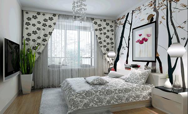 设计: 床头的喷绘壁画作为背景,巧妙地将飘窗设计成休闲区,配以大花窗帘,突出浪漫本色!