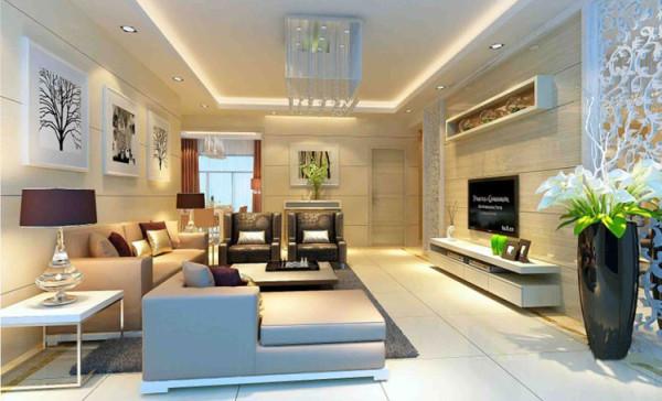 电视背景墙两侧利用镂空花格,看起来客厅通透而且有艺术感,给人眼前一亮的感觉。