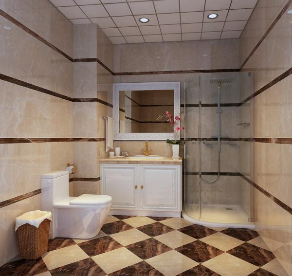卫生间:卫生间地面与墙面瓷砖的巧妙运用,更突显了整个家居风格的统一性及主人的品位。