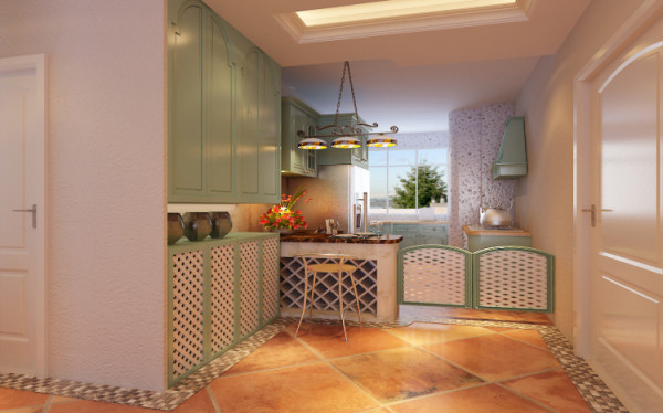 厨房设计: 在这里,仿古的吊灯是最耀眼的明星,艳丽的蓝、黄装饰墙在这里会让客厅舒适开阔,让家人彼此拥有更多的交流。生活更和睦,更亲切。