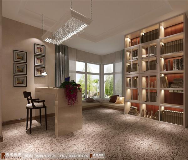 中环岛书房细节效果图-成都高度国际装饰