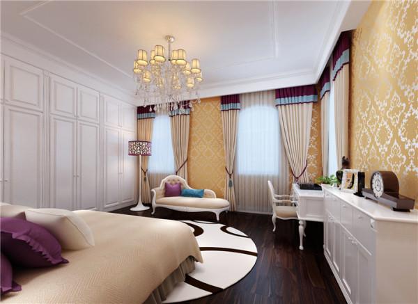 卧室设计: 女儿常年在欧洲读书,钟情于欧洲的生活格调。因此主人将女儿房打造成了简欧的风格,整体上以白色为主色调,配上欧式的家具、灯饰以及金黄色的壁纸,充满着浪漫的公主情怀。