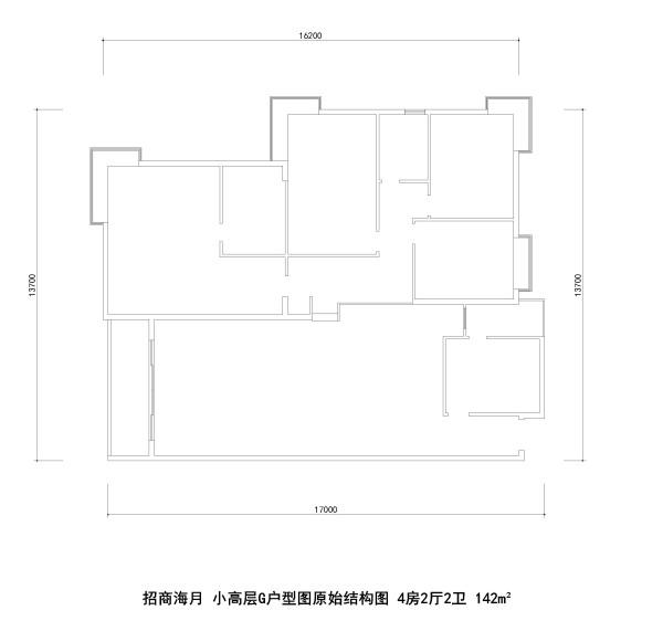 招商海月 小高层G户型图原始结构图 4房2厅2卫 142m²
