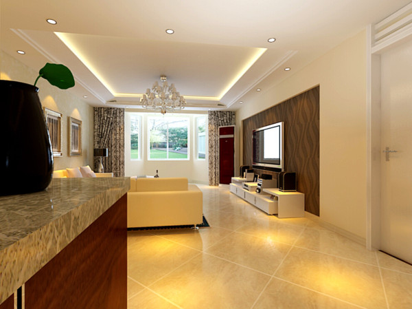 华馨公寓(140平)三居室户型客厅电视背景图效果图展示