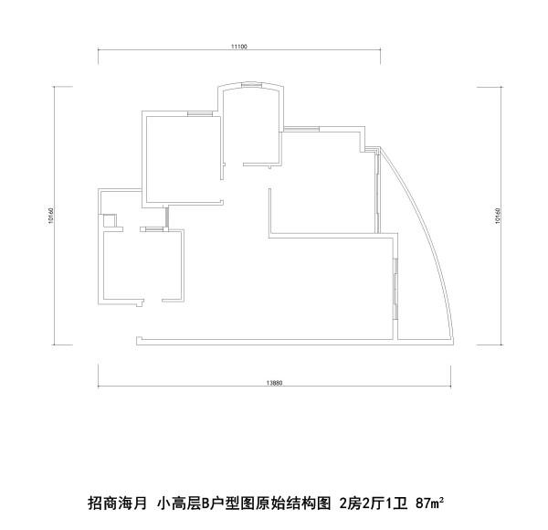 招商海月 小高层B户型图原始结构图 2房2厅1卫 87m²