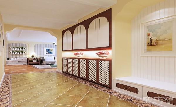 玄关设计: 玄关的设计起到了房间的点睛之笔,通过一幅挂画和装饰物可以体现出房子主人的文化素养,以及对更高品质生活的一种追求。