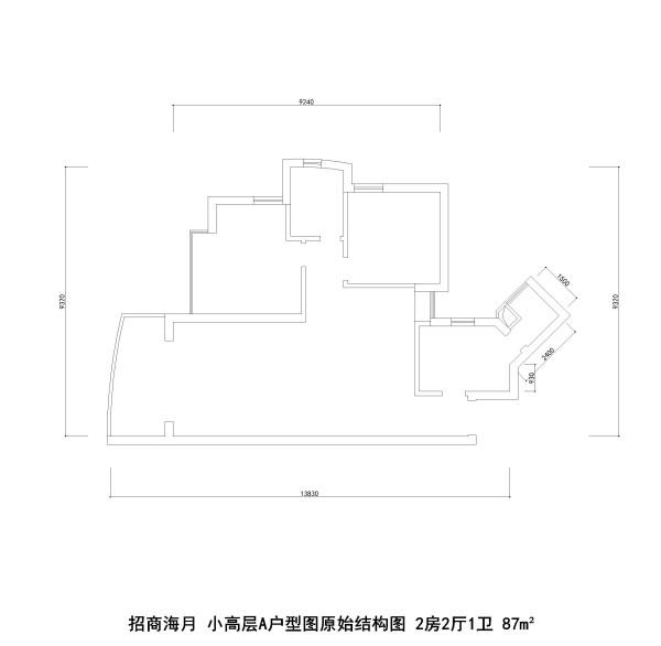 招商海月 小高层A户型图原始结构图 2房2厅1卫 87m²