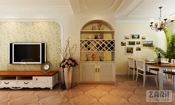 银河丹堤三室两厅120平方——电视背景墙装修效果图