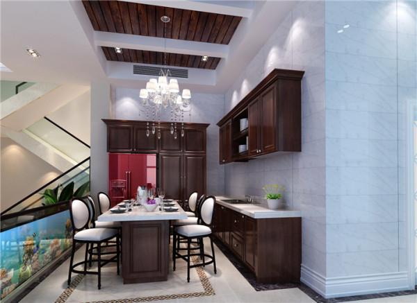 厨房设计: 客厅的一旁,拾阶而上,就是开放式的厨房。开放式的厨房和餐厅,使得就餐的环境更加美好