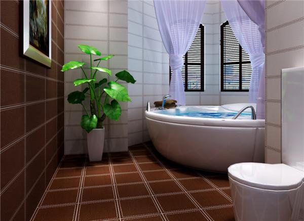 卫生间设计: 棕色系与白色组合成的卫生间,瞬间提升高大上的感觉。最中意那紫色的帘,一种浪漫的生活情调油然而生