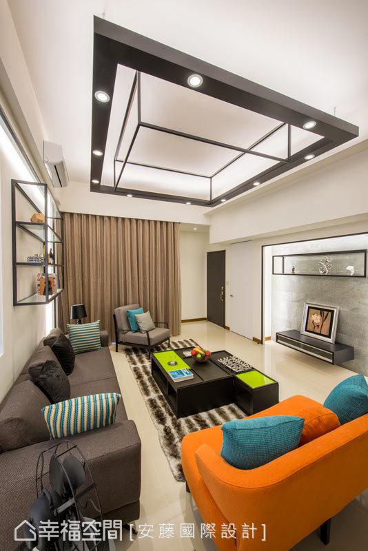 藉由生活的样貌,注入空间的精采;彷佛Box的铁件灯饰,以嵌灯及间照的方式,晕染客厅的氛围。