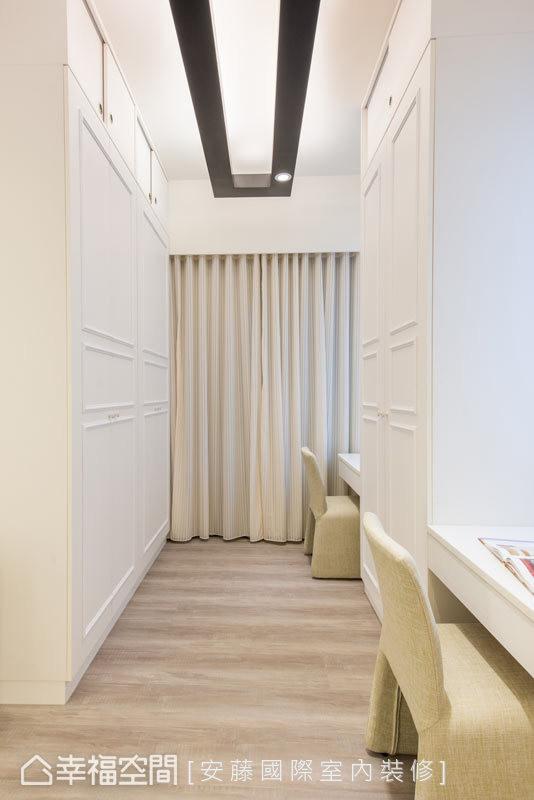 纯白烤漆的衣柜与化妆桌面,彷佛空间中的白色画布,让屋主可以自行挥洒想象。