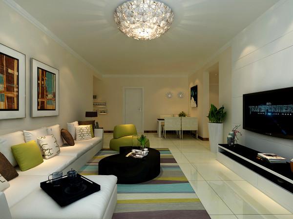 沙发背景墙的挂画选用黑白搭配的色调,为的是与茶几的颜色遥相呼应,使空间的整体效果更统一,也在色彩搭配上寻求了平衡感。