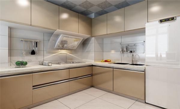 厨房设计: 厨房采用的菱形仿古砖与实木白色橱柜相结合,流动富有质感,古典简约之美显而易见。