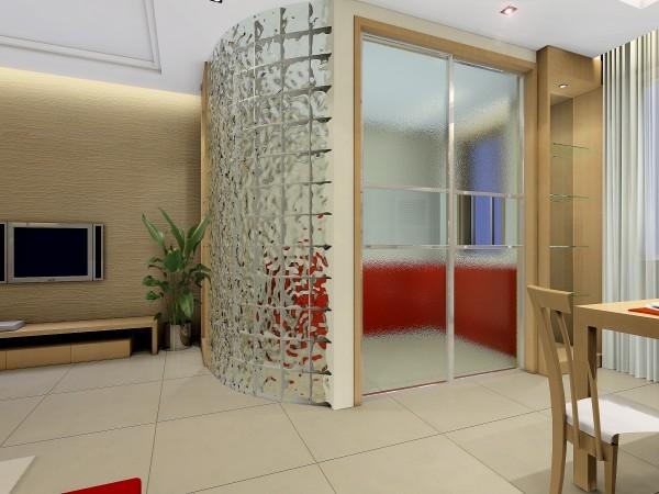 在客厅中用冰花玻璃隔断的厨房、餐厅与厨房的磨砂玻璃隔断,将现代风格体现的淋漓尽致。
