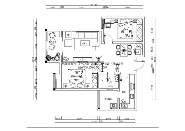 九龙城84平方两室两厅1号楼F3户型图