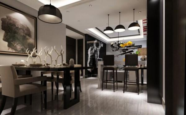在餐桌的上方区域做了个方形吊顶,吊顶上采用了黑色菱形烤漆玻璃设计,设计感十足。