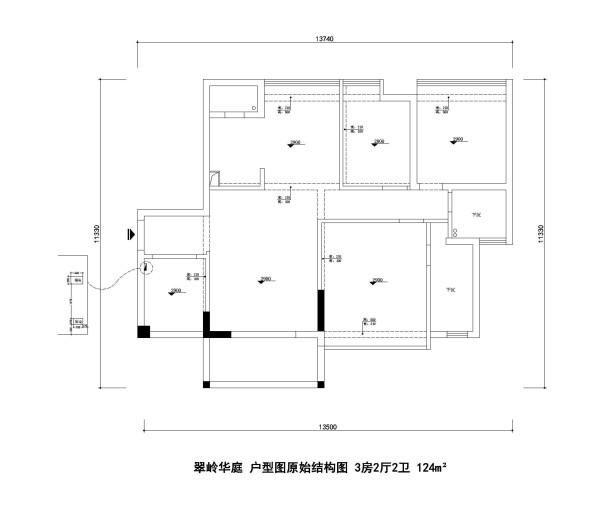 翠岭华庭 户型图原始结构图 3房2厅2卫 124m²