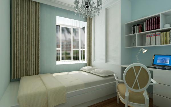 次卧整体色调以浅色为主,现场制作的书桌、书架、衣柜、榻榻米;充分利用整个空间,使得饱满、简洁而实用,显得整个空间温和亲近。