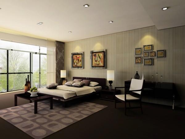 卧室:没有大的吊灯,设计师使用小射灯,卧室更显温馨。