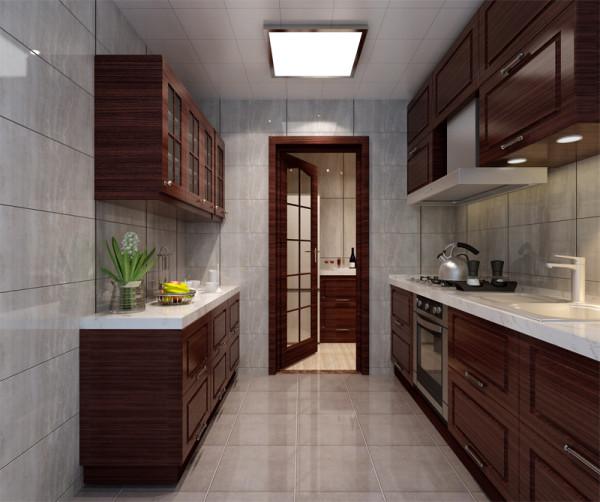 厨房装修从整体上看就显得非常的大方。整个厨房的装修在颜色上以咖色系为主,没有华丽的装饰点缀,实木的整体橱柜设计,流畅的线条,大理石的台面整体显得非常的简单素雅。