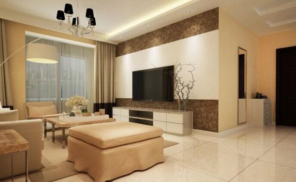 客厅的设计 简约流畅的线条,明朗的颜色对比,白色的乳胶漆和深色的壁纸,赋予空间素净明亮的神采