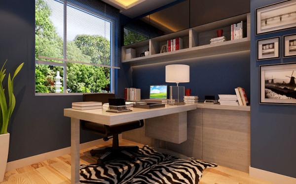 设计理念:书房作为读书学习的空间,不再需要过多的装饰,同样以大面积蔚蓝色为主色调,让人在这安静的空间中尽情享受读书的乐趣。亮点:墙面装饰挂画和绿植的搭配让整个空间更加丰富而又有律动。