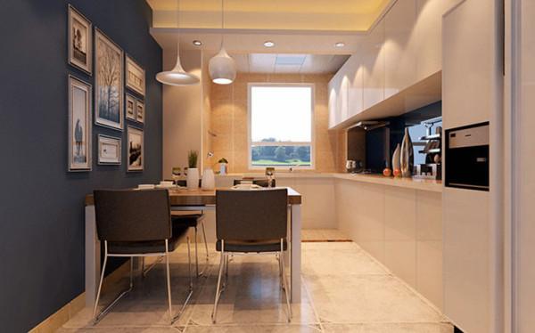 设计理念:开放式的整体厨房越来越受人欢迎,厨房和餐厅合而为一。 亮点:厨柜的色彩和餐桌背景墙的蔚蓝色形成强烈的对比,加以挂画的装饰给枯燥的烹饪空间带来无限的趣味。