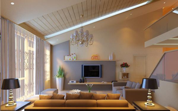 客厅设计: 整体墙面采用饰面板做法,空间显得自然,功能融入结构,让结构服务于人,激发空间的灵性