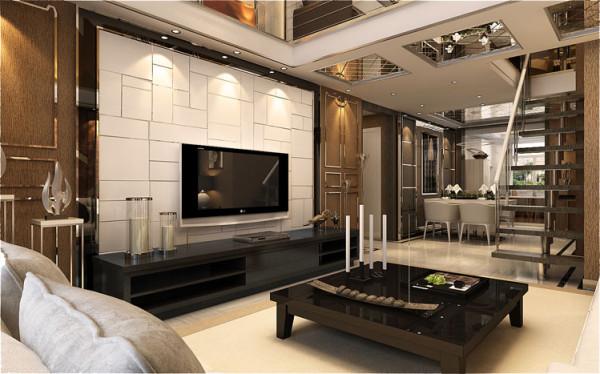 白色石材的电视背景墙与白色沙发的软装让空间独显大气,再以黑色的桌子与电视柜为白色而点缀,壁纸采暖色调的衬托,几者相融合让整个客厅生活或无比自然。