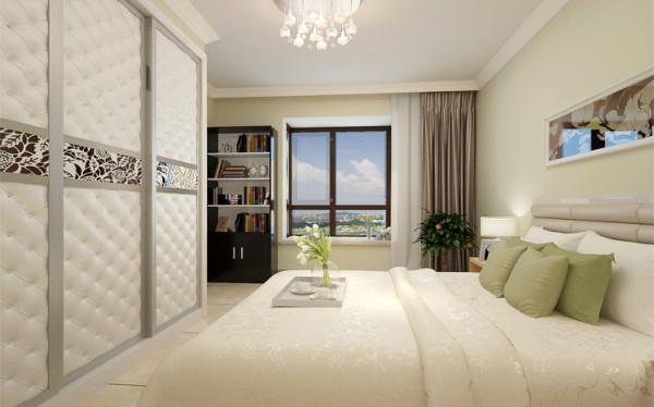 亮点:为满足主人无忧无虑的生活理念,设计师将浅黄绿色的墙面,白色的顶面,时尚的衣柜完合理的搭配完美的呈现,让卧室极具柔美梦幻感。