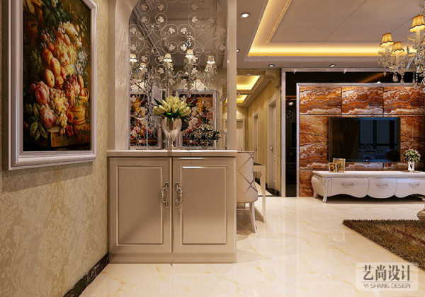 方圆经纬118平方三室两厅装修方案-入户鞋柜造型,软隔断装饰美化餐厅和玄关。