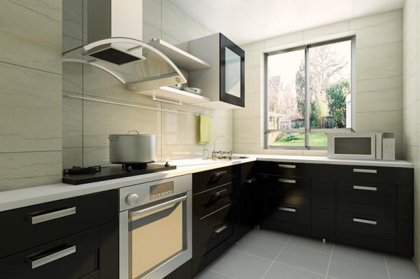 设计理念:厨房能做出美味的菜肴,时尚的女主人喜欢烹饪,在厨房色调的设计上也采用深浅的搭配,体现女主人的时尚生活。 亮点:浅色台面及浅色墙面砖搭配,整体突显出厨房的整洁和实用。