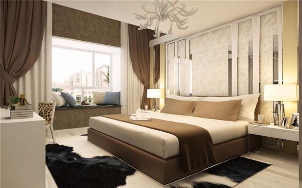 白色与咖色的交融加以米黄色壁纸的衬托,让整个空间突显温馨与浪漫,但其中更多的是使人放松。整个卧室的床头背景墙是个亮点,以不锈钢玻璃衬底,更显简约之特色,整体的白色将米色与咖色融为一体