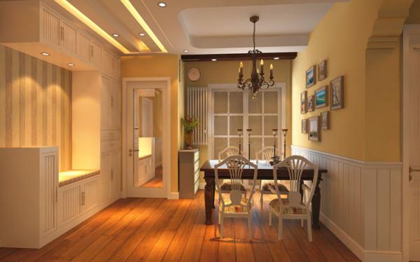 餐厅的设计富有情调,墙面采用白色护墙板,强调风格特点,暖色调的墙面漆让整个就餐环境温馨、自然。利用木质吊顶呼应整体效果。餐厅没有过多繁琐的设计,在餐厅做一面照片墙,营造一个温馨的气氛