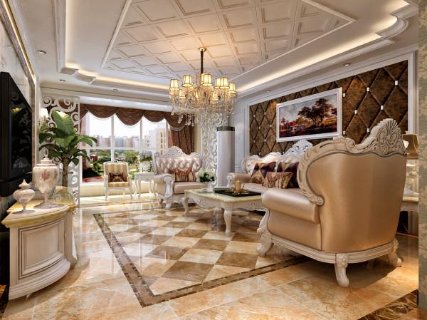 整体方向以欧式的大方向不变,在细节上做了变化。地面的地毯砖的铺贴与顶面的菱形吊顶形成相互呼应,形成统一。电视墙以石材为主大气又不失奢华,两盏欧式壁灯作为点缀。