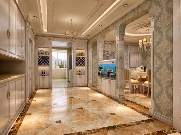 进门玄关中通往厨房的两朵墙打掉做了酒柜既做了隔断又起到了整体美观的作用。玄关背后的餐厅中的吊顶用了圆形吊顶,石膏线的叠加使整体有了层次感。