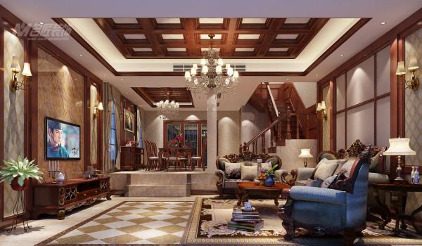 设计师选用以优雅、高贵、含蓄、华丽、自然为主要特色!精致的天花吊顶、对称的电视背景墙!配已高贵优雅的美式家具,精致富有气魄!