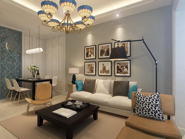 客厅设计: 客厅以浅色系为主,使用了大量的蓝灰色调的空间,考虑到日常使用的生活习惯,选择了固定式屏风,清新的餐桌椅,搭配复古吊灯的装饰,细腻呈现独一无二的北欧风格