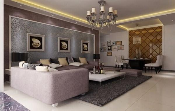 沙发背景墙和电视背景墙遥相呼应,都是用石膏板做成隔断,中间贴的壁纸,但是不用壁纸之间相互搭配,又形成很多种不同的感觉。