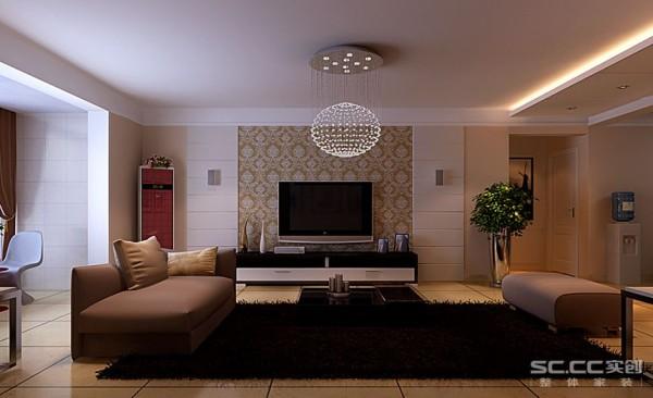 在此基础上,客厅采用木制家具和不锈钢饰品做搭配,用石膏板和花纹壁纸